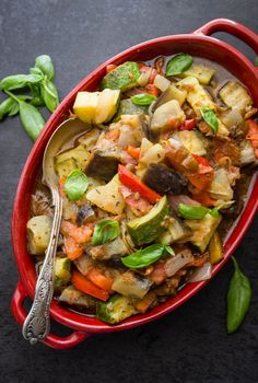 #Ratatouille, a classic #easy fresh #vegetable dish recipe, the perfect #side or main dish. A delicious #vegan, #vegetarian #healthy recipe.