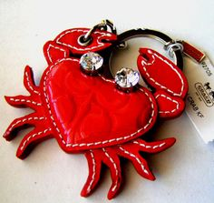 NEW COACH RED PATENT LEATHER CRYSTAL CRAB KEY CHAIN KEYFOB  #Coach #PatentLeatherCrabKeyChain