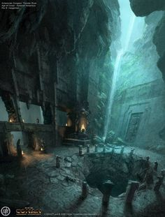 In a great cavern, the heroes of the Night Watch found a deep well near a waterfall. This would take them beneath the Godfinger Andal ruins and into the Deep Roads. This would be their best chance to find the old dwarven armory ruins of Hirol Hall. Fantasy City, Fantasy Places, Sci Fi Fantasy, Fantasy World, Fantasy Concept Art, Dark Fantasy Art, Fantasy Artwork, Fantasy Art Landscapes, Fantasy Landscape