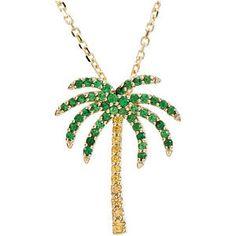 Tsavorite Garnet & Yellow Sapphire Palm Tree Necklace Item #61377