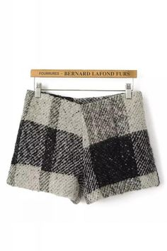 Plaid Mid Waist Tweed Shorts