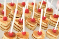 """heart-shaped pancakes via EAT DRINK PRETTY: Real party: Juliet's """"baby love"""" first birthday, part 1"""