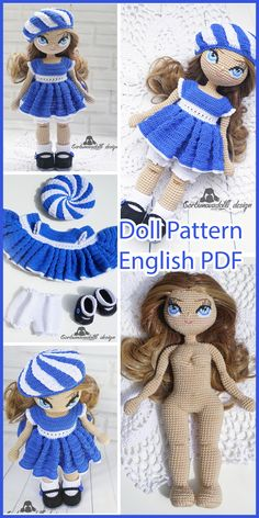 Crochet Doll Pattern - Milena Amigurumi Doll in Blue clothes, stuffed doll pattern, amigurumi doll pdf, diy amigurumi, diy crochet pattern Crochet Doll Pattern, Crochet Toys Patterns, Stuffed Toys Patterns, Crochet Designs, Crochet Dolls, Doll Patterns, Beginner Crochet Tutorial, Doll Tutorial, Amigurumi Doll