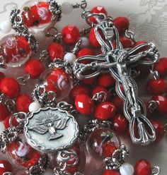 Red Confirmation Catholic Rosary by julieharrison on Etsy, $74.00