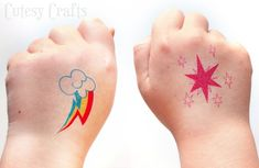 Make these temporary My Little Pony tattoos for a birthday party or just for fun… - DIY Tattoo vorübergehend Rainbow Dash Birthday, Colorful Birthday Party, My Little Pony Birthday Party, Birthday Parties, Birthday Fun, Birthday Ideas, Diy Tattoo, Tattoo Paper, Tattoo Ideas