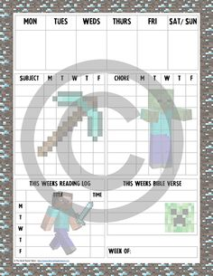 Free Printable Frozen  Minecraft Homeschool Student Planners