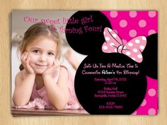 Minnie Mouse Birthday Invitations Polka Dot Bow Digital Print File Disney Clubhouse