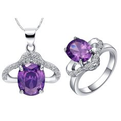 Find More Jewelry Sets Information about Ladies Bride Bridesmaid Costume Austria Crystal Jewelry Set Party Wedding Purple Ring Necklace Bijuterias Conjuntos 50% Off T422,High Quality bijuteria from D&C Fashion Jewelry Buy to Get a Free Gift on Aliexpress.com