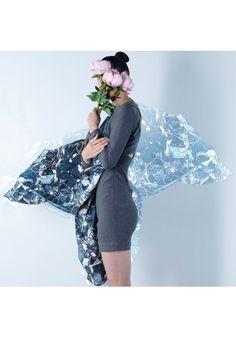 Foulard en soie bleu pétrole CHERRY Claire Nast Design
