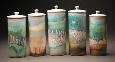 Joe Winter Pottery. 5 jars.