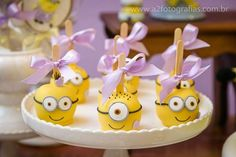 Adorable candy apples at a Despicable Me Minions birthday party! See more party planning ideas at CatchMyParty.com!
