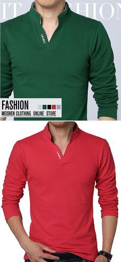 ffc1376f83083b Mens V-neck Collar Solid Long Sleeve T-shirt Buy trending men t-shirt from  our store and get off. You will not find this t-shirts in another store