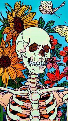Hippie Wallpaper, Skull Wallpaper, Iphone Background Wallpaper, Cartoon Wallpaper, Psychadelic Art, Hippie Painting, Iphone Wallpaper Tumblr Aesthetic, Hippie Art, Diy Canvas Art