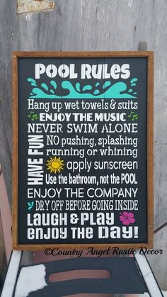 Pool Sign. Swimming Pool Sign. Custom Sign. Outdoor Sign Deck