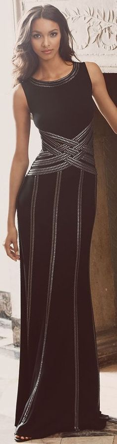Elegant black and silver long evening dress - Chic Dresses and beautiful Skirts