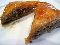 Baklava - A Mediterranean pastry made with nuts, honey, cinnamon, and rose water.  It takes a little work to make it but it is worth every bite!