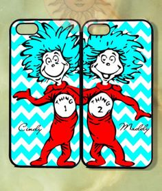 BFF Gifts for Her: Best Friends / Couples Dr. Seuss Thing 1 and Thing 2 Phone Cases for iPhone 4 / 5 / 5s / 6 by Goldensun Case @ Etsy