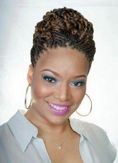 Trending Easy Updos for Medium Hair - Hair Style Natural Hair Twists, Natural Hair Updo, Natural Hair Styles, Easy Updos For Medium Hair, Medium Hair Styles, Curly Hair Styles, Hair Medium, Easy Hair, African Braids Hairstyles