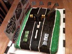 Green And Black Race Track Birthday Cake. https://www.facebook.com/CakeDivaDenise/