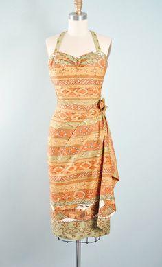 Vintage 50s HAWAIIAN KAMEHAMEHA Wiggle Dress / 1950s SARONG Cotton Tiki Tapa…