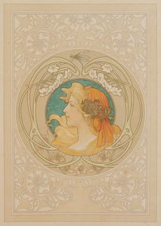 Albert-Émile ARTIGUE (1850-1927) Le printemps, vers 1900, grand format Panneau décoratif. Épreuve lithographique en couleurs et à l'or contrecollée sur carton. Les larges marges destinées à être coupées… - Ader - 21/10/2016