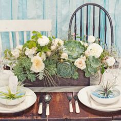 Succulent centerpieces are a fabulous way to bring a little nature indoors.