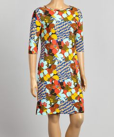 Look at this #zulilyfind! Coral & Royal Floral Shift Dress & Necklace - Plus #zulilyfinds