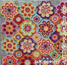 Gehaakte patroon bloem baby deken door ATERGcrochet