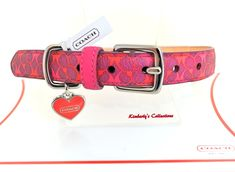 COACH Waverly Print Signature C Leather Dog Collar w/ Heart Charm size Med NWT #Coach