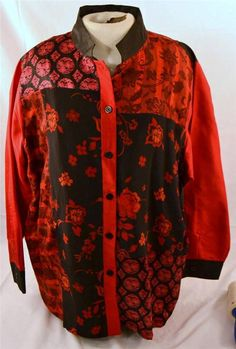 Koos Of Course Size 1X 2 Piece Oriental Style Red Sleeveless Top And Jacket #KoosOfCourse #2Piece