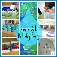Noah's Ark Birthday Party for a twins' second birthday, with water beads, playdough, real live animals and rainbow cake!