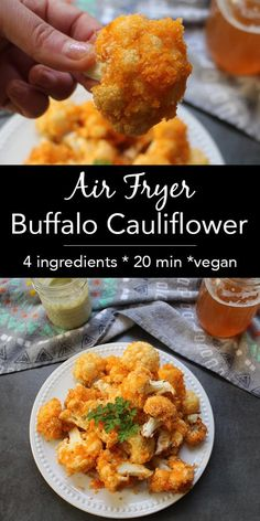 Air Fryer Buffalo Cauliflower: Easy Cauliflower Wings - Glue & Glitter This version of crunchy Air Fryer Buffalo Cauliflower is light on batter and simple to make. Dip it in vegan ranch or your favorite creamy vegan dressing. Vegetarian Recipes, Cooking Recipes, Healthy Recipes, Air Fryer Recipes Vegan, Tofu Recipes, Air Fryer Recipes Appetizers, Air Fryer Recipes Vegetables, Air Frier Recipes, Cooking Kale