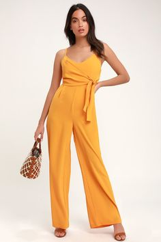 17d52f04e38 Lulus | Dorado Mustard Yellow Tie-Front Wide Leg Jumpsuit | Size Large |  100% Polyester