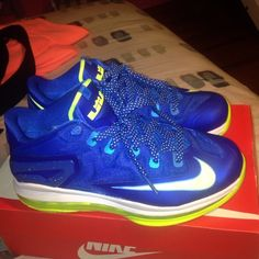 """""""Sprite"""" Lebron 11 low sz 7 (boys/ gradeschool). worn several times but condion still about 10/10. no original box or receipt due to moving but is authentic bought from footlocker Nike Shoes Sneakers"""