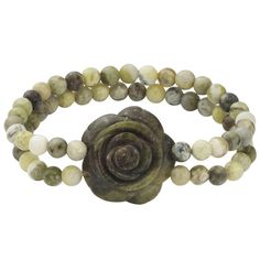 Connemara Marble carved rose and beads stretch bracelet-so cute