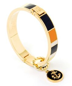 Look what I found on #zulily! Orange & Navy Anchor Hinge Bangle #zulilyfinds