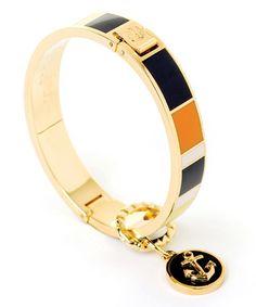 Look what I found on #zulily! Orange & Navy Anchor Hinge Bangle #zulilyfinds