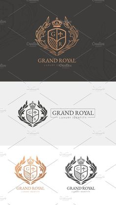 Grand Royal Luxury Logo by Vectorwins Premium Shop Business Brochure, Business Card Logo, Logos, Logo Branding, Royal Logo, Luxury Logo Design, Crest Logo, School Logo, Paint Markers