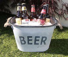 Ice bucket beer - galvanized metal, ice, #beer, #wine, bottle, drink #cooler, par,  View more on the LINK: http://www.zeppy.io/product/gb/2/222212467910/