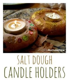 How to make beautiful salt dough candle holders - great Diwali craft  and Winter Solstice lantern craft Christmas Presents For Grandparents, Diy Christmas Presents, Noel Christmas, Christmas Ideas, Christmas Ornaments, Diwali Activities, Christmas Activities, Activities For Kids, Autumn Activities