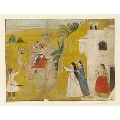 2 men on a camel with ladies bidding them goodbye. An illustration to the Northern Indian ballad of Sassi and Punun. Punjab Hills, India (Pahari; Siba, made) ca. 1800