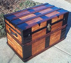 351 Large Fully Restored Flat Top Steamer Trunk by ThePiratesLair