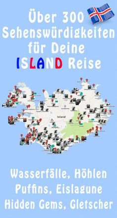 Island GPS-Koordinaten Over 300 Iceland GPS coordinates / Iceland points of interest including illus Europe Destinations, Europe Travel Tips, Island Map, Reisen In Europa, Countries To Visit, Destination Voyage, Iceland Travel, Camping Iceland, Travel Maps