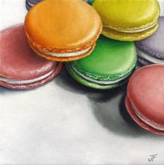 """""""Macaron Study IV"""" - Original Fine Art for Sale - © Jelaine Faunce Candy Art, Cupcake Art, Food Painting, Daily Painters, Cupcakes, Love Eat, Good Enough To Eat, Fruit And Veg, Food Illustrations"""