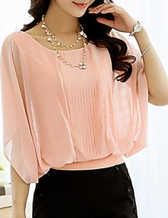 Women's+Flare+Sleeve+Plus+Size+Going+out+Sexy+Summer+Blouse,Solid+Round+Neck+½+Length+Sleeve+Polyester+Thin+–+CAD+$+30.90