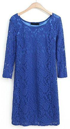 Blue Half Sleeve Lace Bodycon Dress