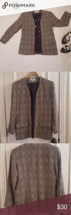 Talbots Navy and Cream Blazer/Jacket Navy and Cream blazer is so chic. Rayon blend material. The coat is lined in a beautiful faux silk navy color. Has two pockets in front . Lays nicely on the body. Talbots Jackets & Coats Blazers