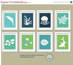 Sea Print Set. Ocean Gallery. Set of 8, 5X7, Nursery decor, Boy or Girl room decor, Birthday Gift, Sea world Artwork. $35.70, via Etsy.