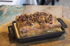 Houston restaurant STQ features sides served in Staub! (Sneak Peek: Maple Bacon Croissant Tres Leches Bread Pudding!)