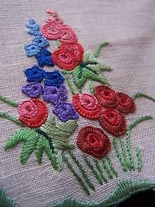 Antique Irish linen table mats / centres x 6 Hollyhocks hand embroidery